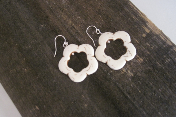 Sterling Silver and Howlite Flower Earrings