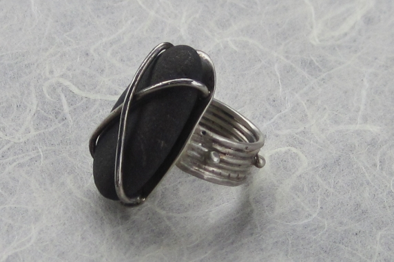 Beach Rock and Brushed Sterling Silver Ring, Sz 7