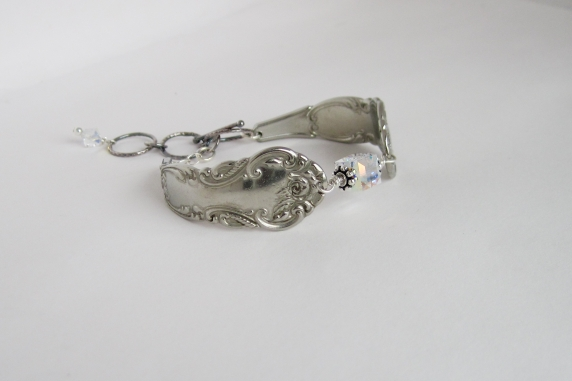 Antique silver plated spoon handle and April Birthstone Color Swarovski Crystal