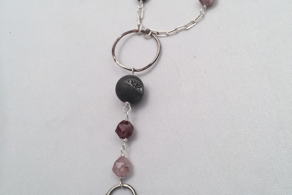 Forged Sterling Silver Arrowhead and Gemstone Necklace