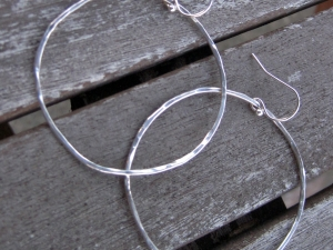 Hand Forged Sterling Silver Hoop Earrings
