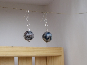 Faceted Crackle Agate and Sterling Silver Earrings
