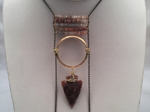Arrowhead and Moonstone Necklace on Brass