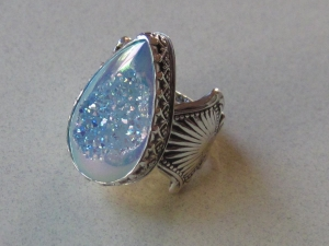 Blue Drusy Silverware Ring