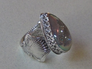 White Drusy Silverware Ring