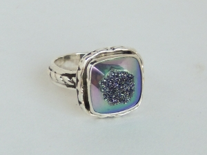 Square Drusy Fabricated Ring